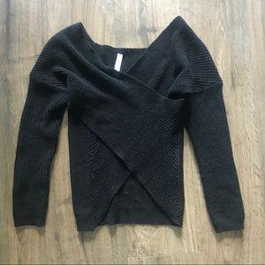 Blue Blush Wrap Front Sweater